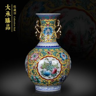 Jingdezhen ceramics Chinese penjing famille rose gold ears open altar vase small collection of handicraft furnishing articles
