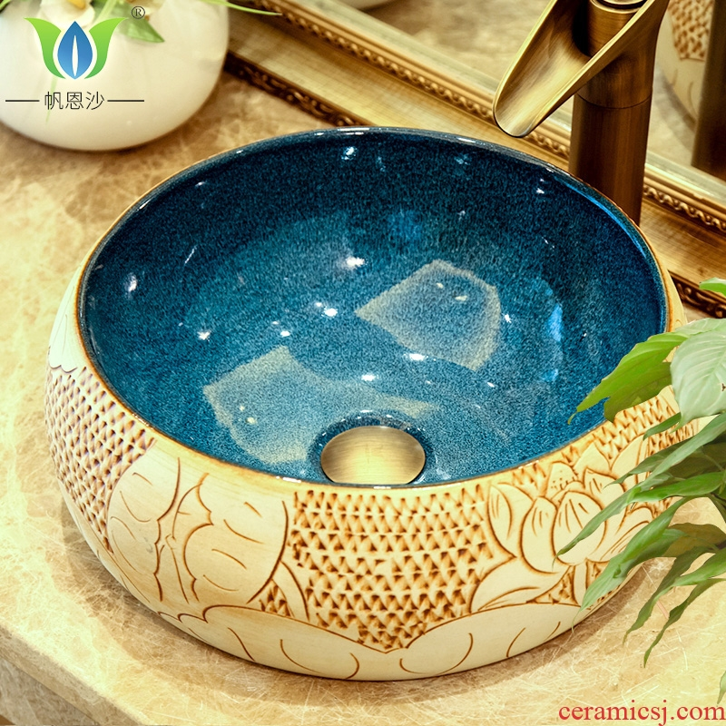 Restore ancient ways round ceramic stage basin sink circle on the mini small size 41 cm small
