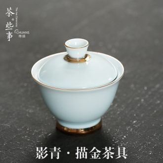 Famed ceramic hand - made paint tureen three kung fu tureen jingdezhen porcelain tea set to make tea bowl bowl