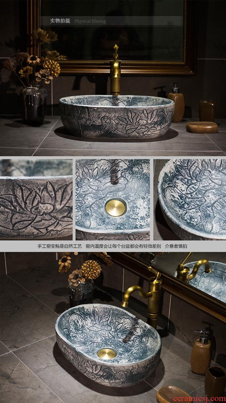 Jingdezhen ceramic engraving thin expressions using toilet stage basin sink basin, art basin lavatory basin