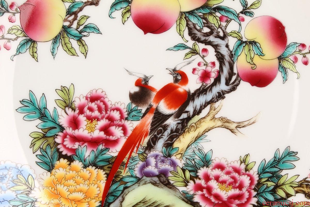 Jingdezhen ceramics pastel peach faceplate hang dish of rural household decoration decoration decoration plate