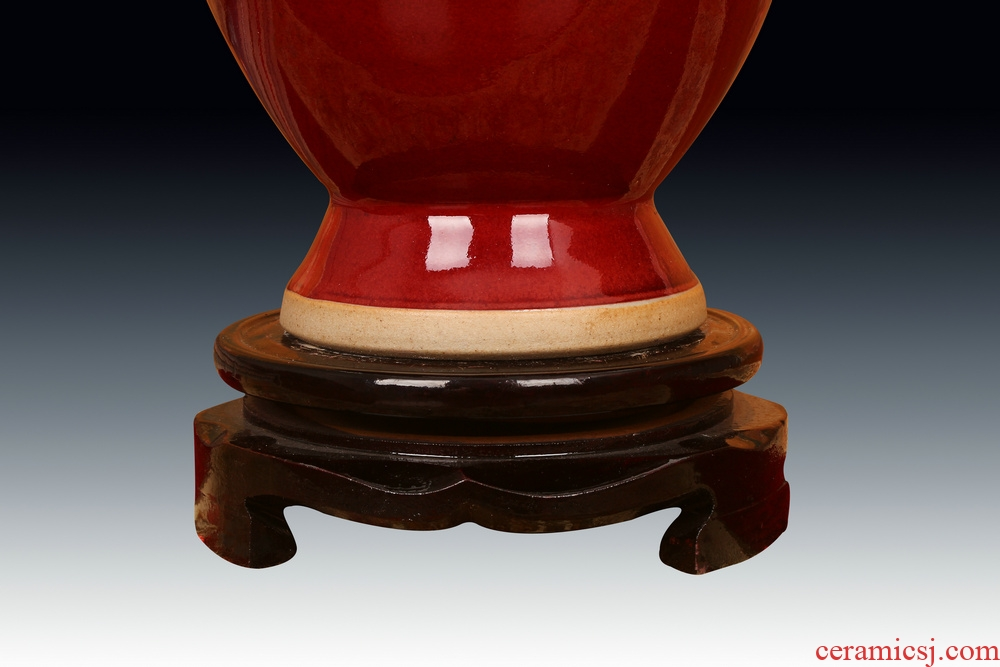 Jingdezhen ceramic vase archaize of jun porcelain up change lang offering red lotus expressions using ssangyong 's ear vase was Chinese style furnishing articles
