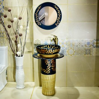 New basin of jingdezhen ceramic column small balcony sink one pillar type toilet lavatory of the basin that wash a face