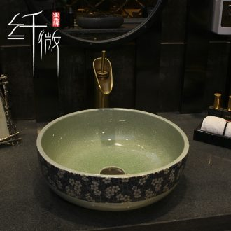 35 cm American art basin of small round ceramic basin that wash a face the pool that wash a face the stage basin sink creative Chinese northern Europe