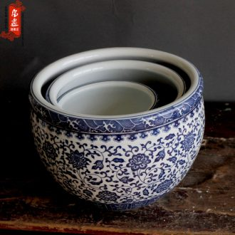 Blue and white porcelain of jingdezhen ceramics writing brush washer of large diameter can make writing brush washer from classical multi - function furnishing articles