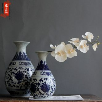 Blue and white porcelain of jingdezhen ceramics flower piece of up crack open living room home decoration flower decoration furnishing articles