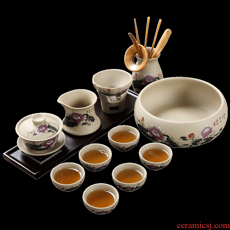 Household coarse pottery kung fu tea tea sets ceramic cups tureen clay Chinese resume work office