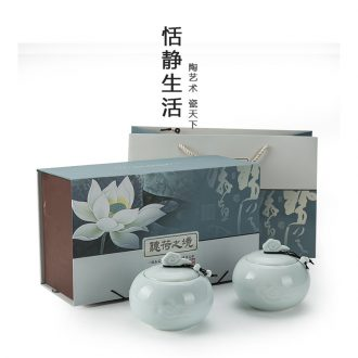 The -quiet caddy fixings tea storage POTS general elder brother up with celadon sealing ceramic pot gift box packaging custom LOGO