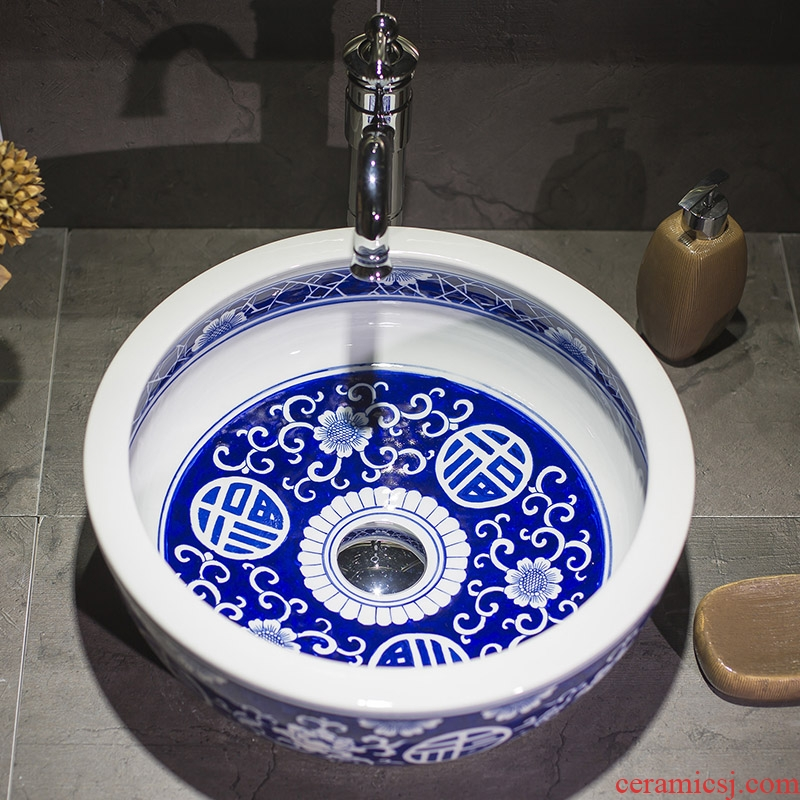 Hand made blue and white porcelain art stage basin ceramic lavabo circular lavatory toilet balcony of the basin that wash a face of Chinese style