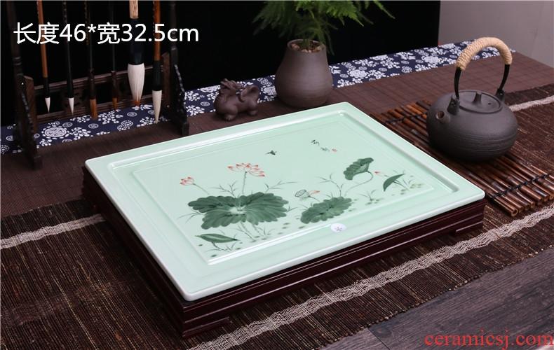 Home sitting room tea set ceramic celadon kung fu tea tray rectangle drainage tea tea tea plate of I and contracted