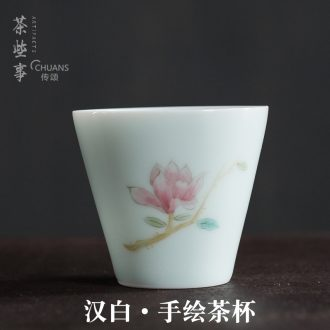 Famed hand - made celadon kung fu tea tea cup accessories noggin ceramic cup of tea light red green tea cup