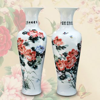Jingdezhen ceramics glaze color peony under Chinese study living room hall of large vases, new home decoration