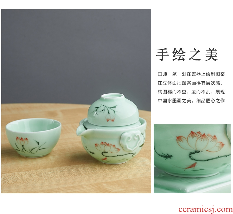 Household ceramics crack cup single tea set a pot of portable travel the 1223 cup dry terms plate suit Japanese