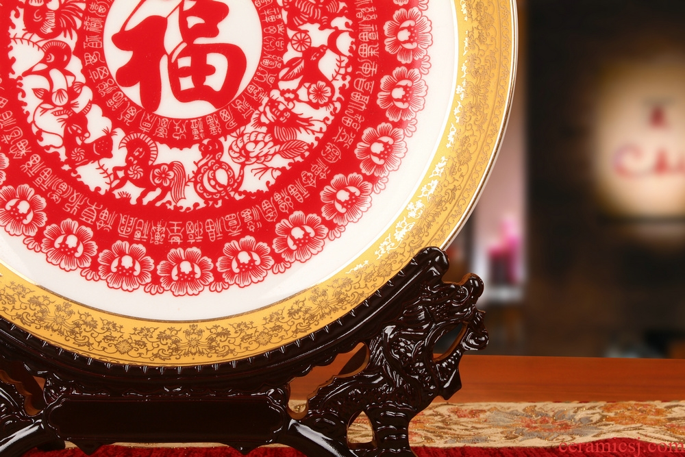 Jingdezhen chinaware paint edge red everyone faceplate hang dish plate new classical household adornment furnishing articles