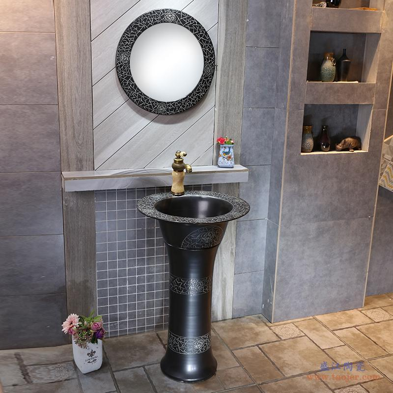 景焱工业风艺术立柱盆黑色复古一体洗手台盆立式陶瓷洗脸盆洗手池