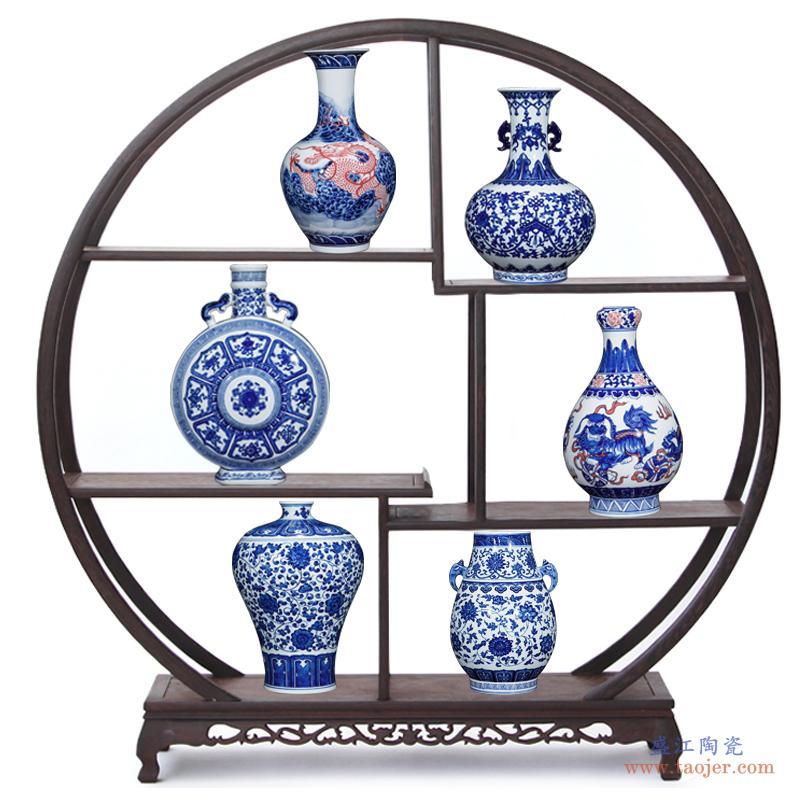 景德镇陶瓷器仿古青乾隆手绘青花瓷瓶中式家居客厅插花装饰品摆件