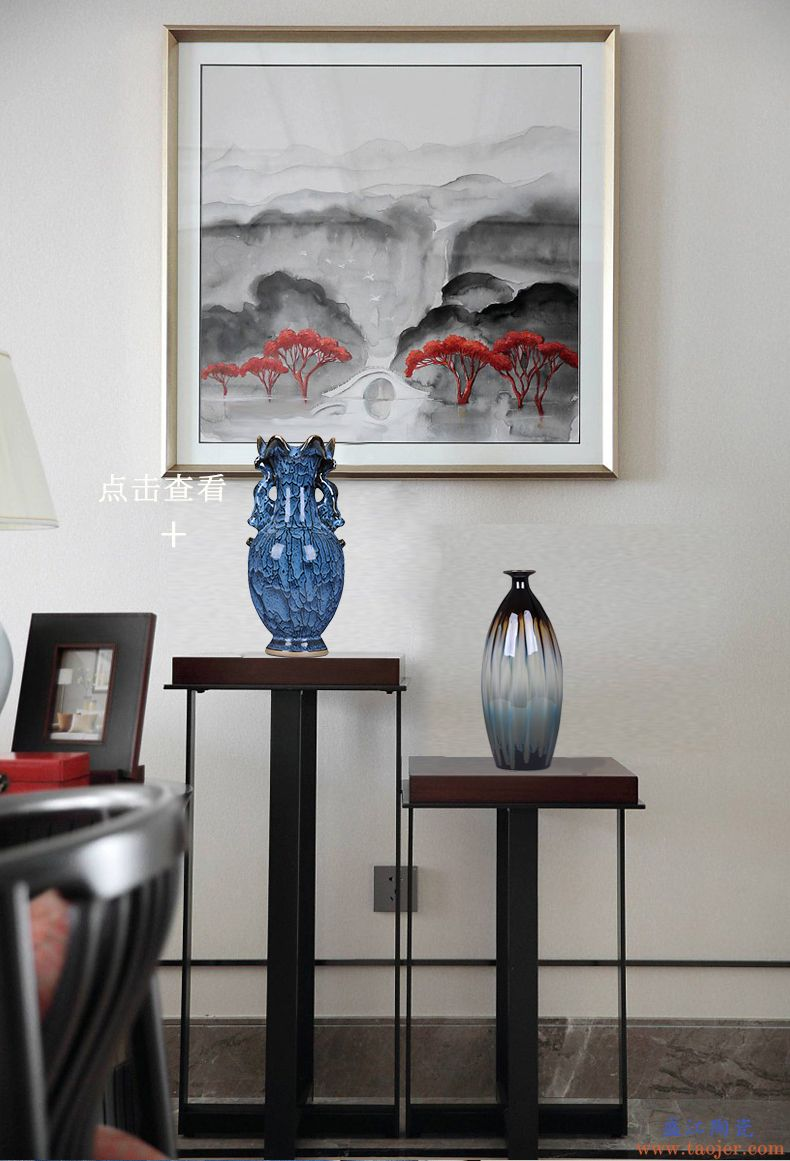 景德镇陶瓷器窑变干花花瓶古典家居摆件复古客厅装饰工艺品摆设