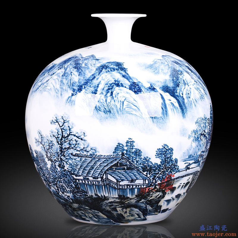 景德镇陶瓷器 名家大师手绘山水石榴瓶 新中式客厅居家装饰品摆件