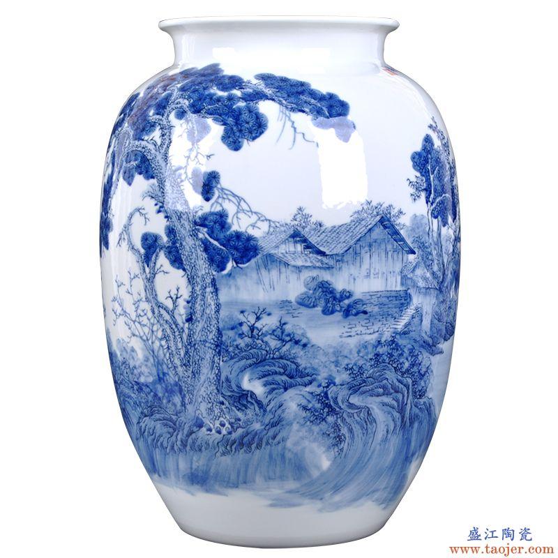 景德镇陶瓷器名人名作新中式手绘青花艺术家居装饰工艺品客厅摆件