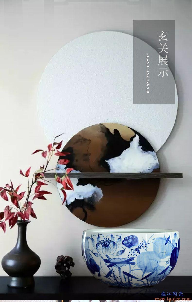 景德镇陶瓷器鱼缸 青花养金鱼缸睡碗莲盆荷花缸乌龟缸盆客厅摆件