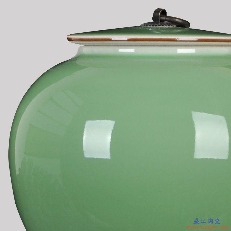 景德镇陶瓷器新中式圆形豆青茶叶储物罐糖果罐客厅家居装饰品摆件