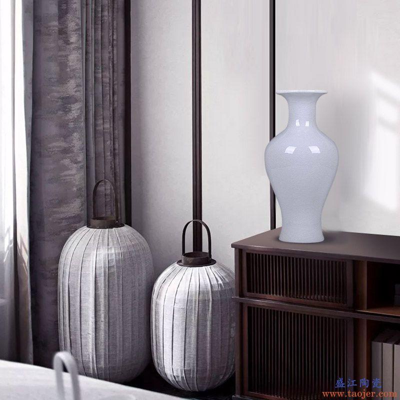 景德镇陶瓷器 白色冰片裂纹釉花瓶 现在中式家居装饰品客厅摆设件