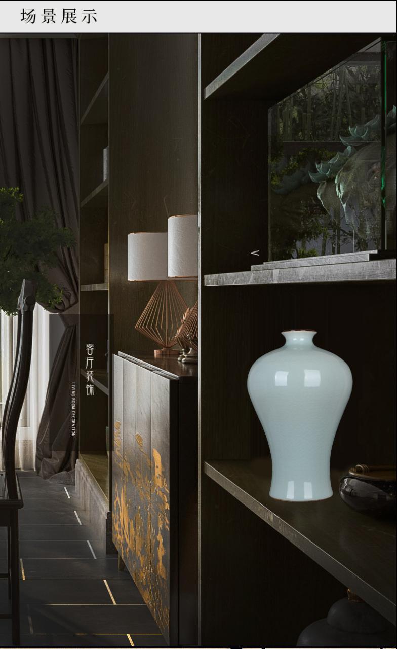景德镇陶瓷器仿古官窑青瓷花瓶家居装饰品工艺客厅博古架摆件