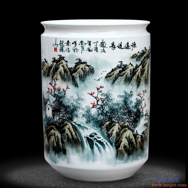 景德镇陶瓷器手绘箭筒大花瓶装饰摆件客厅落地书画筒字画筒卷轴缸