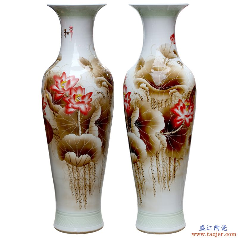 景德镇陶瓷器手绘和为贵落地大号花瓶家居客厅酒店别墅装饰品摆件