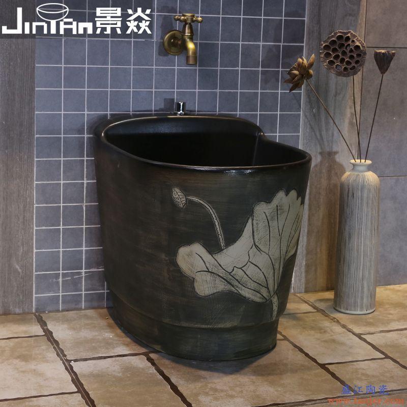 景焱黑色荷花拖把池家用复古陶瓷洗拖布池卫生间仿古拖把盆阳台池