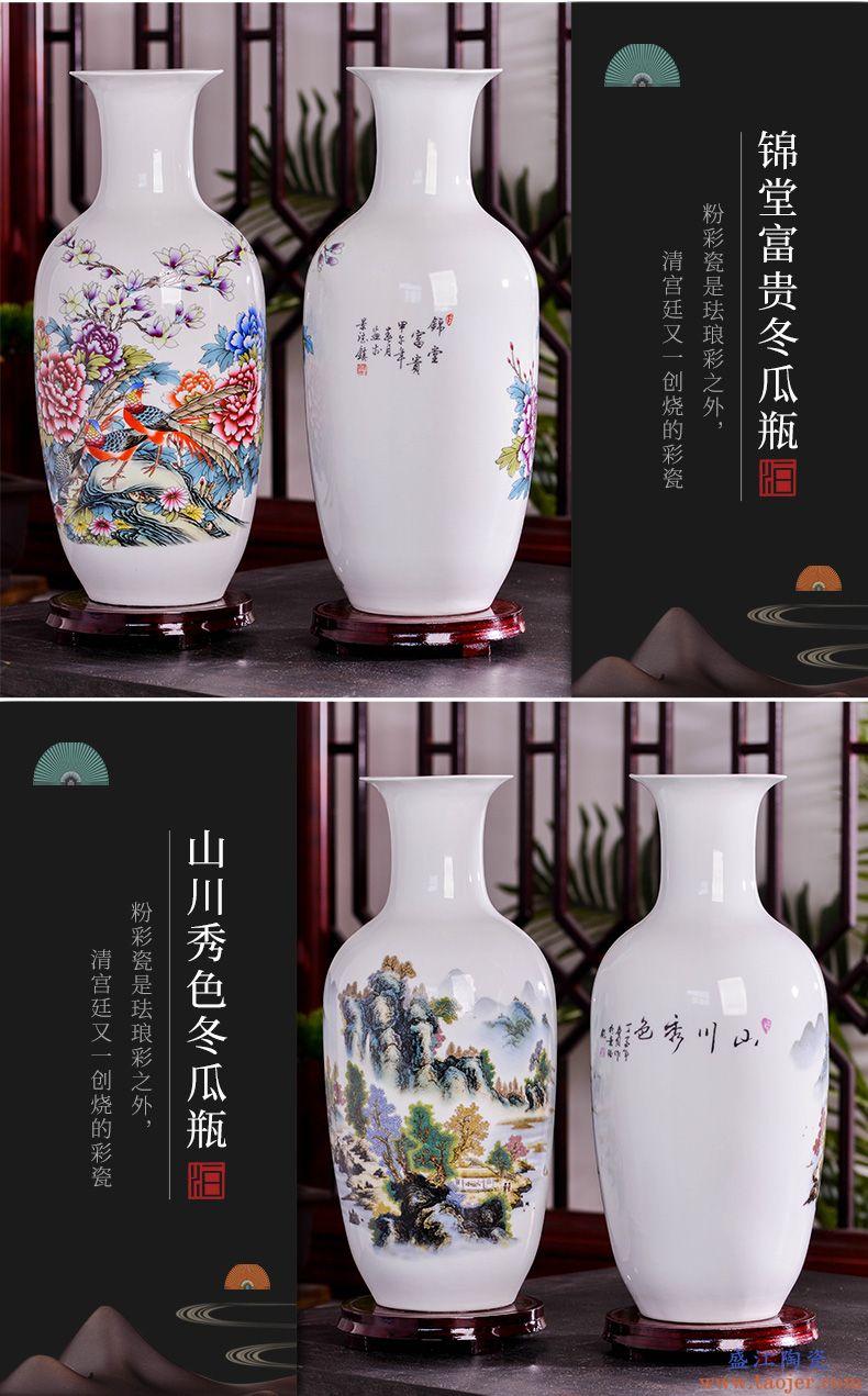 景德镇陶瓷器现代大花瓶插花干花家居客厅玄关中式工艺装饰品摆件