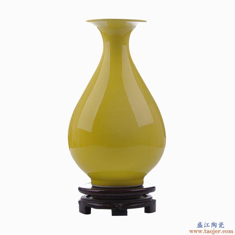 景德镇陶瓷仿古颜色釉干花花瓶新中式客厅玄关家居装饰工艺品摆件