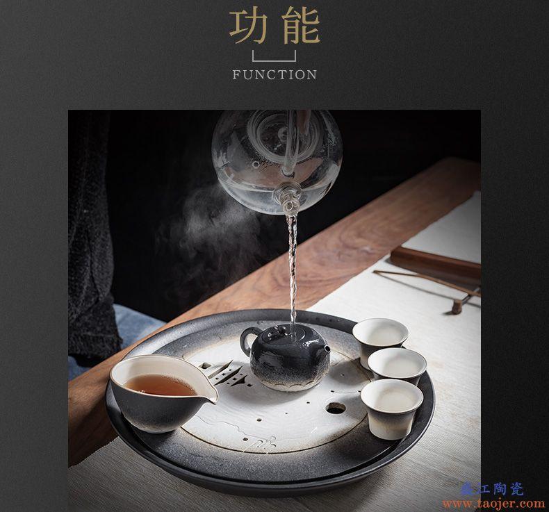 言和堂 粗陶茶盘 大号壶承茶海圆形小干泡台茶台功夫茶具储水托盘