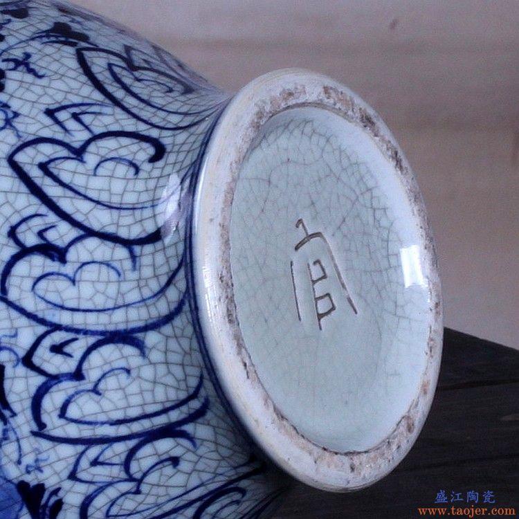 景德镇陶瓷器 手绘釉下彩仿古官窑裂纹釉青花瓷花瓶客厅中式摆件