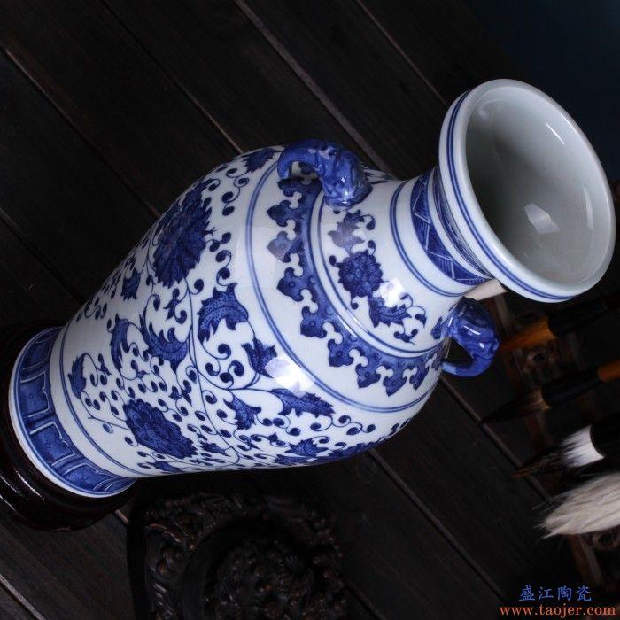 景德镇瓷器青花瓷陶瓷花瓶手绘龙纹双耳瓶客厅插花装饰工艺品摆件