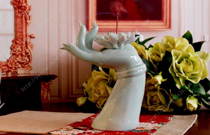 景德镇陶瓷器 手制瓷手托荷花 陶瓷香插 线香 陶瓷摆件