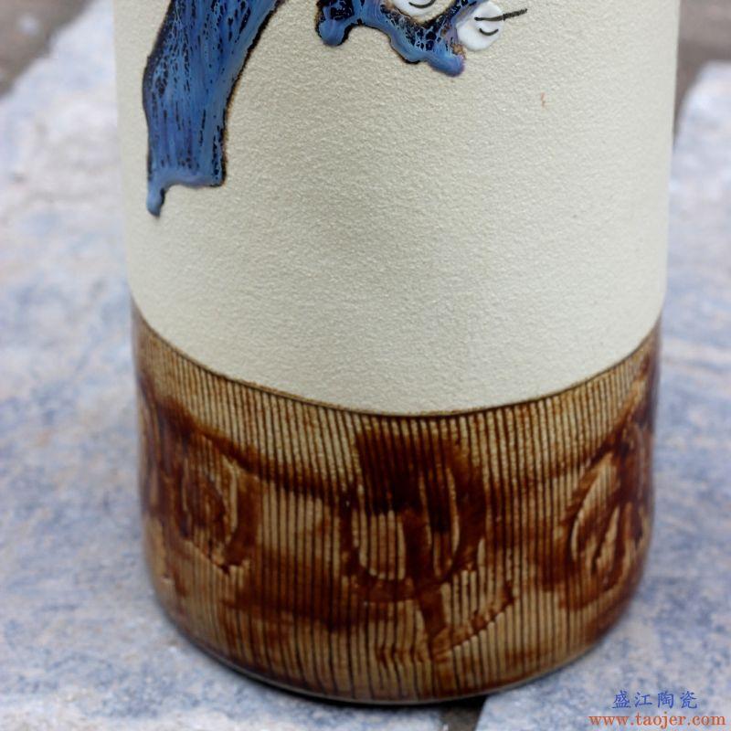 景德镇陶瓷器手绘梅花瓶家居客厅书房办公室台面插花摆件现代饰品