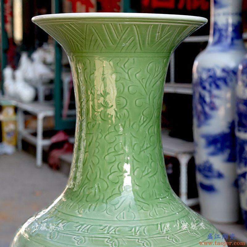 松鹤延年墨彩大花瓶景德镇陶瓷器家居客厅书房落地摆件中式饰品
