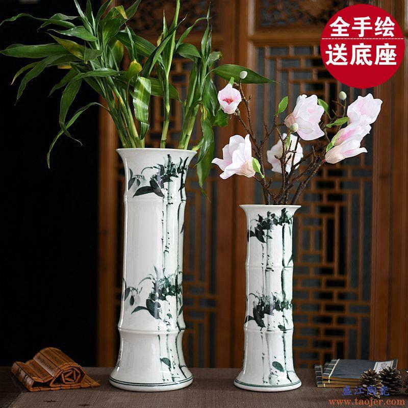景诺 景德镇陶瓷 粉彩时时报喜金色花瓶 中式家居饰品摆件摆设