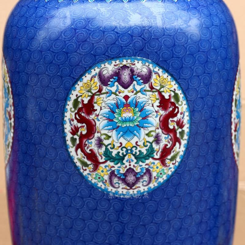 景德镇陶瓷器牡丹蓝色冬瓜大花瓶家居客厅台面书房办公现代大摆件