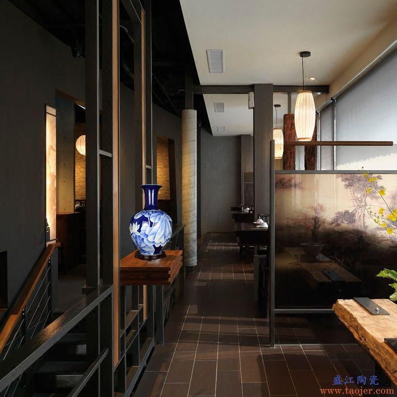 景德镇陶瓷器手绘花瓶大号中式客厅会所酒店家居软装饰品玄关摆件