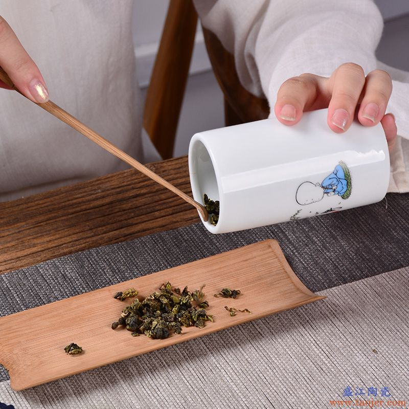 佛系陶瓷茶叶罐茶罐小号普洱装茶叶盒便携迷你旅行存储密封罐家用