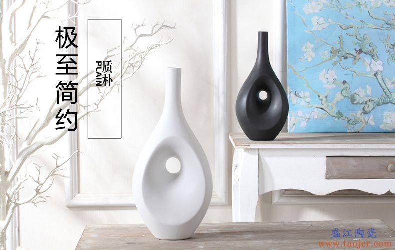 简约黑色白色花瓶摆件客厅电视柜插花器景德镇陶瓷器欧式软装饰品