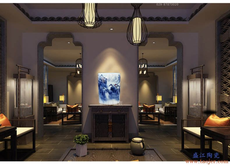 景德镇陶瓷黄山云海图箭筒花瓶家居客厅摆件字画卷轴收纳工艺饰品