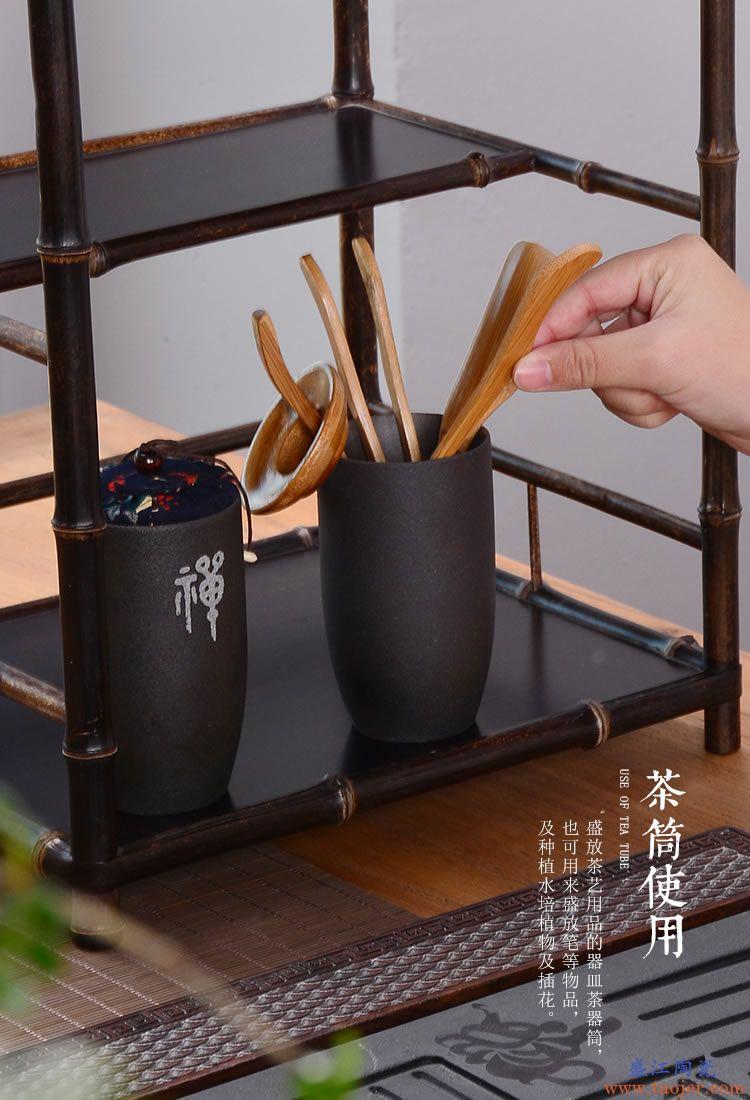 陶瓷茶具茶盘配件功夫茶道套装陶瓷竹特价茶道六君子茶艺套装