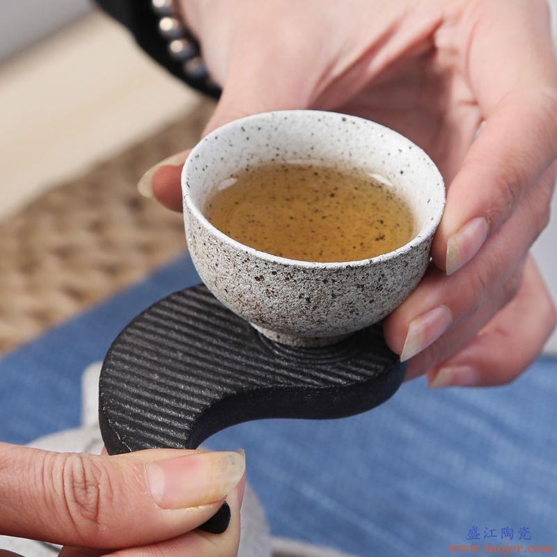万三茶庄 粗陶茶壶整套茶具黑陶茶盘茶杯创意干泡盘套组家用办公