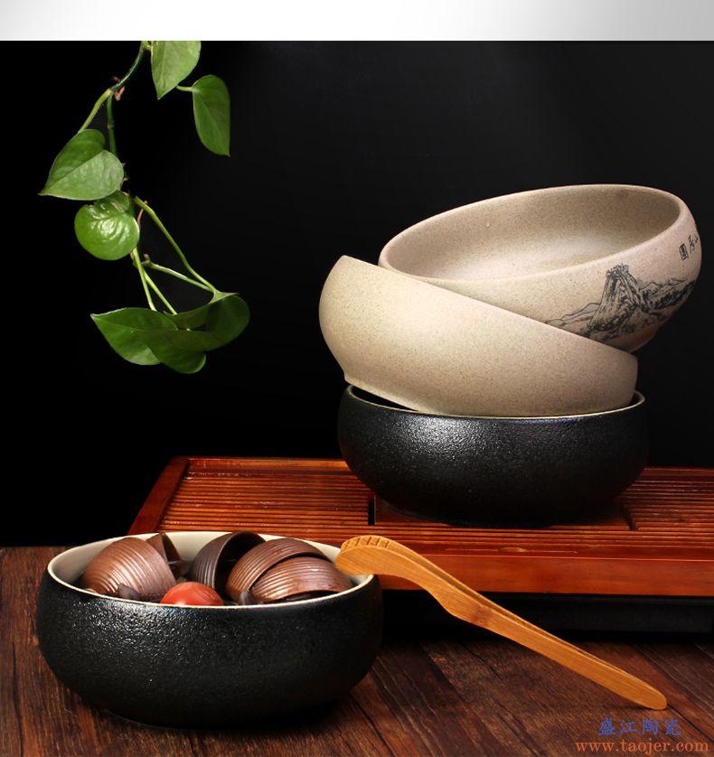杰艺粗陶大号茶洗 陶瓷水洗碗水盂 黑陶杯洗笔洗功夫茶具茶道配件