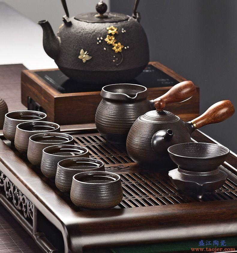 尚言坊 柴烧功夫茶具套装 家用手工侧把壶粗陶复古茶具礼盒装