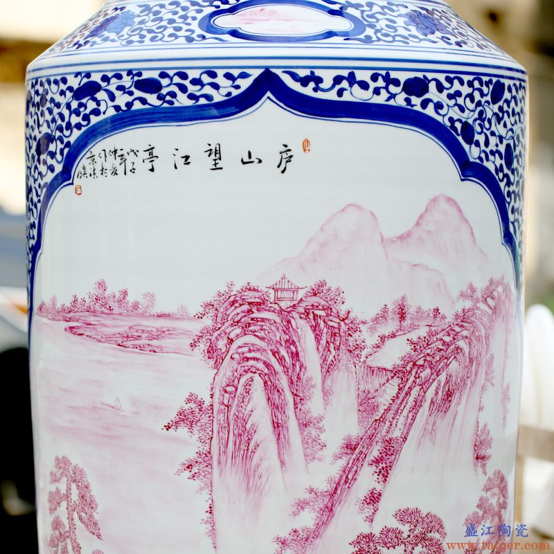 景德镇粉彩瓷落地大摆件手绘庐山望江亭大花瓶家居客厅中式装饰品