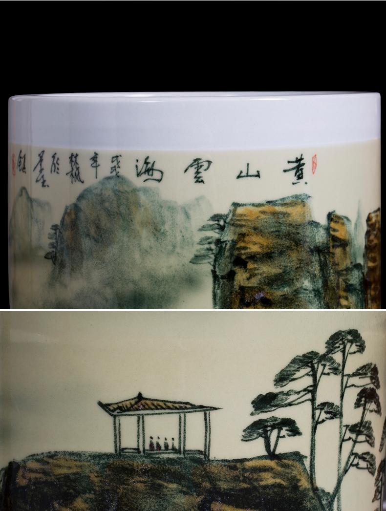 景德镇陶瓷器名家大师手绘青花瓷落地大花瓶书画筒卷轴缸客厅摆件